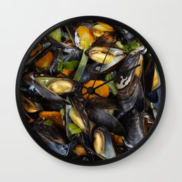 Cooked mussels Wall Clock