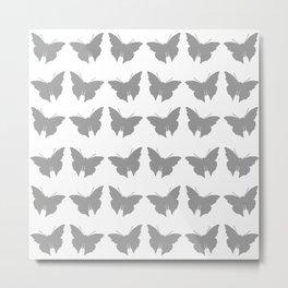 Gray Bold Mod Butterflies Metal Print