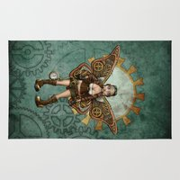 steam punk Area & Throw Rugs featuring Steam Punk Pilot Faery by Hafapea