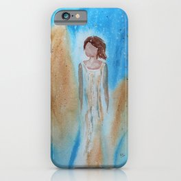 Abstract Christmas Angel with Gold Wings Original Watercolor iPhone Case