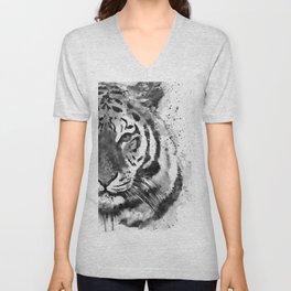 Black And White Half Faced Tiger Unisex V-Neck