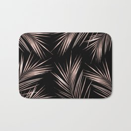 Rosegold Palm Tree Leaves on Midnight Black Bath Mat