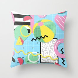 Memphis Eighties Summer Pool Party Throw Pillow
