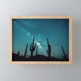 BLUE NIGHT SKY MILKY WAY AND DESERT CACTUS Framed Mini Art Print