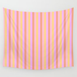 Hibiscus Hawaiian Flower Cabana Stripes in Pink, Yellow, Peach and Lilac Wall Tapestry