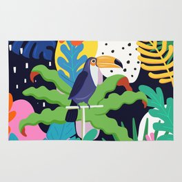 Bold Tropical Jungle Abstraction With Toucan Memphis Style Rug
