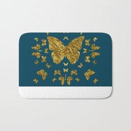 Butterfly kaleidoscope gold Bath Mat