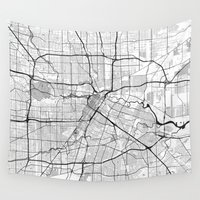 houston Wall Tapestries featuring Houston Map Gray by City Art Posters