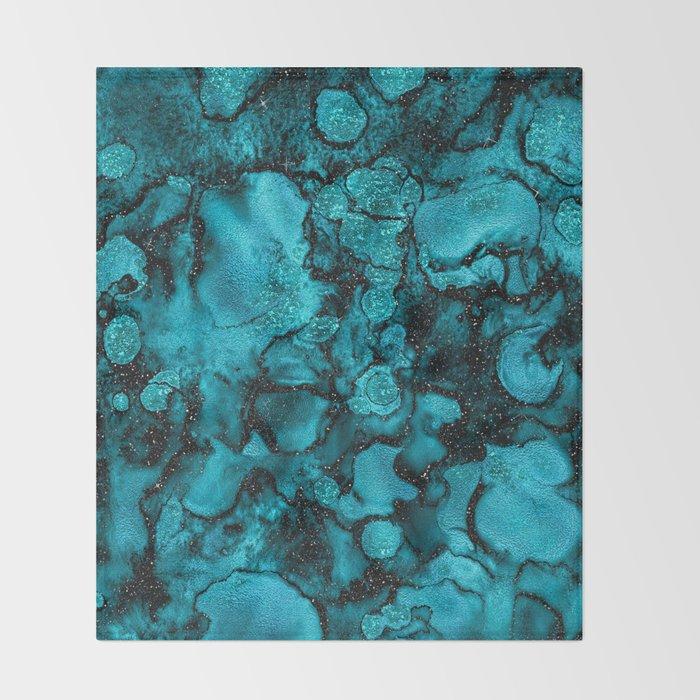 Blue Gemstone and Ink Malachite Glitter Marble Throw Blanket