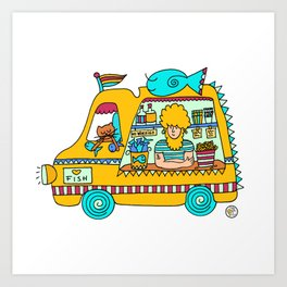 fish and chips food truck cool dude Art Print