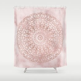 Misty pink marble rose gold mandala Shower Curtain