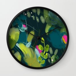 abstract jungle fever leaves in floral green Wall Clock