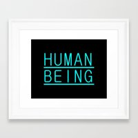 human Framed Art Prints featuring Human by PsychoBudgie