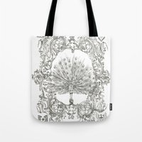 military Tote Bags featuring Military Peacock by Vicki Jones