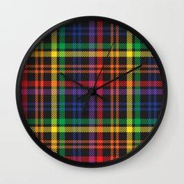 Rainbow Plaid Tartan Textured Pattern Wall Clock