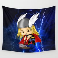 thor Wall Tapestries featuring Chibi Thor by artwaste