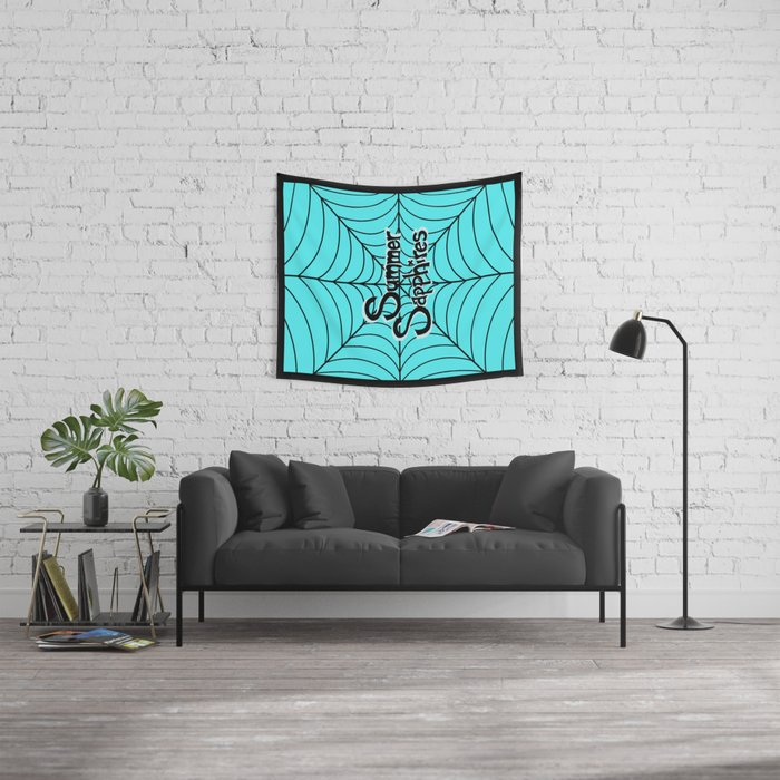 Bright Blue Spiderweb Logo Wall Tapestry