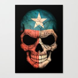 Dark Skull with Flag of Texas Canvas Print