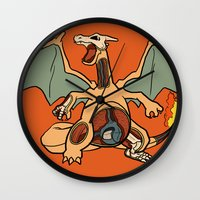 charizard Wall Clocks featuring Charizard Anatomy by Logan Niblock