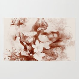 Sepia toned tropical flowers and butterflies Rug