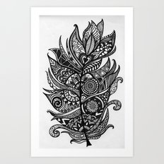 Zen Tangle Feather Art Print