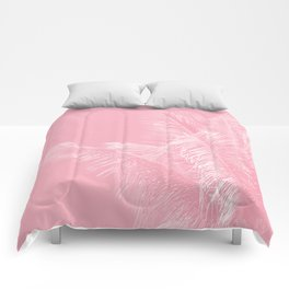 Millennial Pink illumination of Heart White Tropical Palm Hawaii Comforters