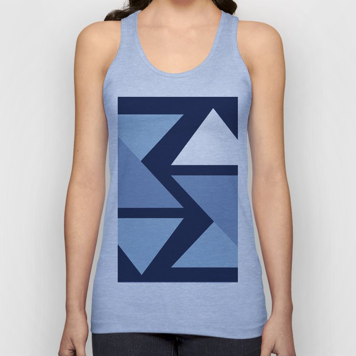 Origami Indigo Triangles Unisex Tank Top