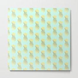 Cute faux gold & mint pineapple pattern Metal Print