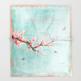 Live life in full bloom - Romantic Spring Cherry Blossom butterfly Watercolor illustration on teal Throw Blanket