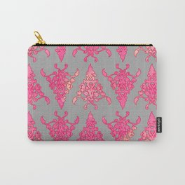 Arabesque Doodle Pattern on light grey Carry-All Pouch
