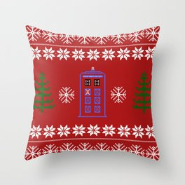 TARDIS CHRISTMAS SWEATER Throw Pillow
