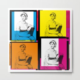 JANE AUSTEN (POP ART STYLE 4-UP COLLAGE) Metal Print