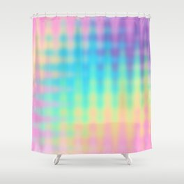 Wavy Pastel Rainbow Design Shower Curtain