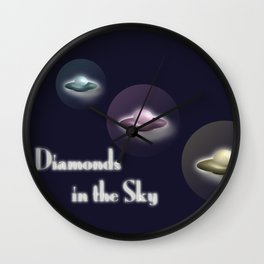 Galactic Spaceships Diamonds in the Sky  Wall Clock
