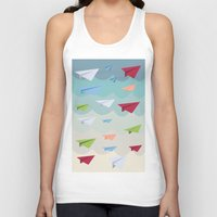 planes Tank Tops featuring Paper Planes by irayflo