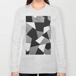 Silver Gray Black White Geometric Glam #1 #geo #decor #art #society6 Long Sleeve T-shirt