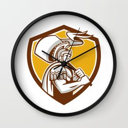 Roman Centurion Carry Flag Crest Retro Wall Clock