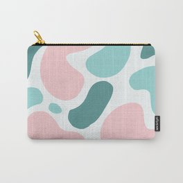 Retro Mint Green and Pink Blobs Over Pale Grey - Abstract Shapes - Funky Art - Matisse Carry-All Pouch