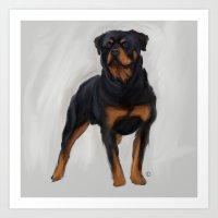 rottweiler Art Prints featuring Rottweiler by Kendra Aldrich