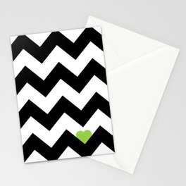 Heart & Chevron - Black/Green Stationery Cards