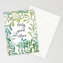 green leaves nature Stationery Cards