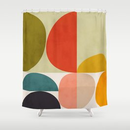 shapes of mid century geometry art Shower Curtain
