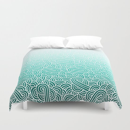 Ombre turquoise blue and white swirls doodles Duvet Cover