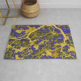 Colourful blue and yellow trees Rug