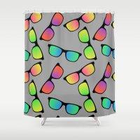 sunglasses Shower Curtains featuring Sunglasses Pattern by Karolis Butenas