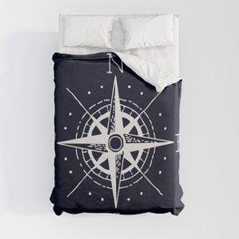 Navy Nautical - White Compass Duvet Cover