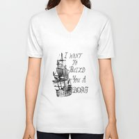 larry stylinson V-neck T-shirts featuring I want to build you a boat. Harry Styles. Tattoo. (Larry Stylinson) by Arabella