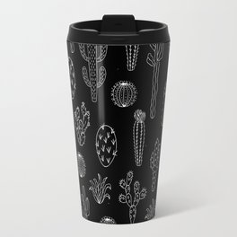 Cactus Silhouette White And Black Travel Mug