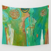"flora bowley Wall Tapestries featuring ""Wish Believe"" Original Painting by Flora Bowley by Flora Bowley"