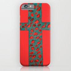 Coral & Teal Leopard Print Cross Slim Case iPhone 6s
